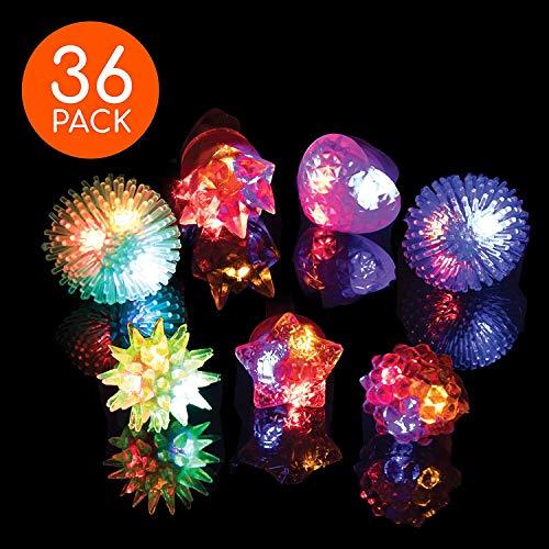 Accesorios de Fiesta LED para Nios - 36 piezas de Anillos de Gelatina Sinttica LED que Brillan en la Oscuridad, Bulto de Opciones que brillan en la Oscuridad en colores surtidos de anillos LED