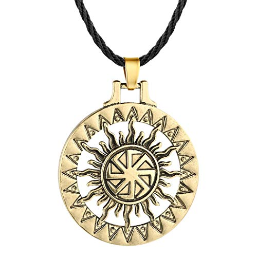 (AILUOR Handcrafted Viking Norse Amulet Pendant Necklace, Vintage Sun Wheel Kolovrat Celtic Pagan Slavic Symbol Warrior Talisman Necklace Jewelry Men Unisex (Bronze))