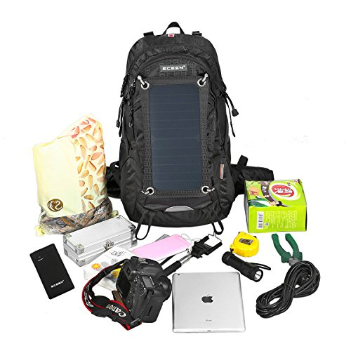 External Frame Pack Hiking Camping Backpack 2L Hydration Bladder, Solar Phone Charger, 10000mAh Portable Battery, Emergency Outdoor Sports Bag for IOS iPhone 7 6 6s 6 plus Samsung Android Cell Phone