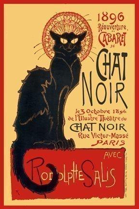 Póster Miniatura Laminado de Art Deco Francés de Chat Noir Gato ...