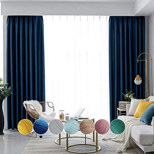 MacoHome Textured Blackout Curtains Linen Thermal Insulated Drapery Panel