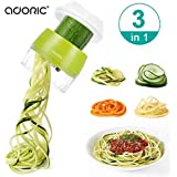 Handheld Spiralizer Vegetable Slicer, Adoric 4 in 1 Heavy Duty Veggie Spiral Cutter - Zoodle Pasta Spaghetti Maker for…