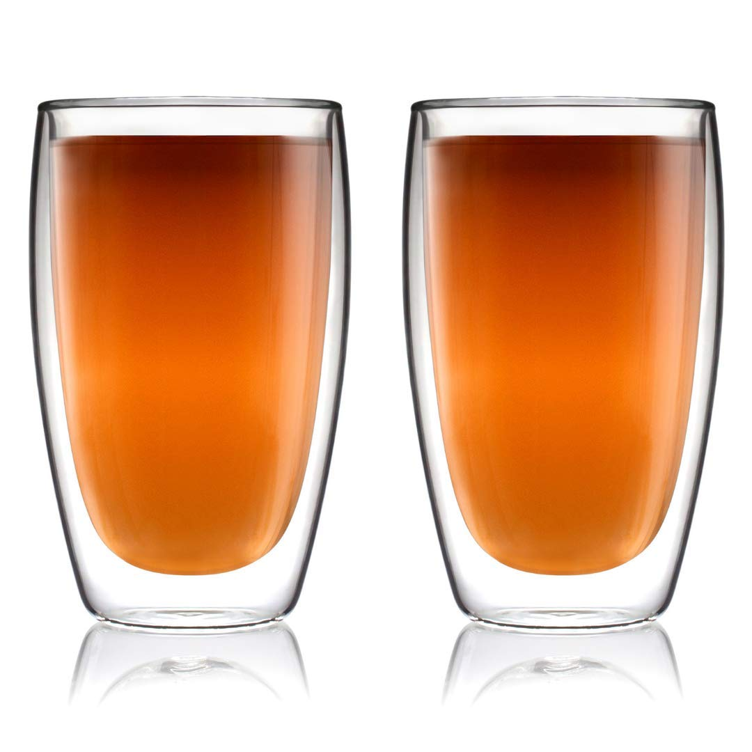 Coffee or Tea Glass Mugs Drinking Glasses Set of 2-15oz Double Walled Thermo Insulated Cups, Latte Cappuccino Espresso Glassware Kitchables SYNCHKG111181