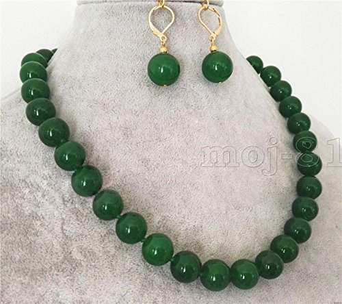 12mm Green Jade Earring - Natural 12mm Green Jade Round Gemstone Beads Necklace 18