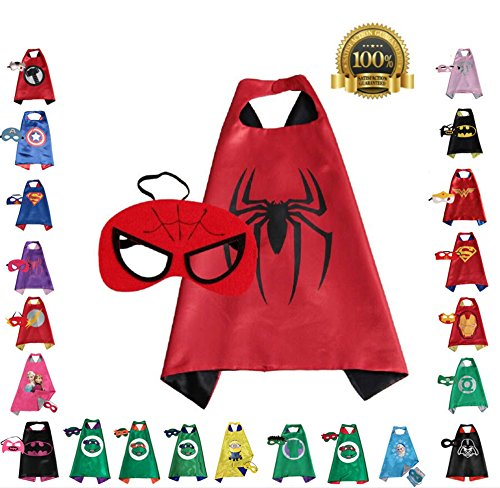 Super hero Cape and Mask, Children, Boys, Girls Dress Up Costume (Spiderman Villain Costumes)
