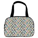 """iPrint Vogue Small Handbag Pink,Cat,Retro Style Pattern with Cute Cats Hipster Sunglasses Bow Ties Hand Drawn Style Vintage Decorative,Multicolor,for Girls,Diversified Design.6.3""""x9.4""""x1.6"""""""