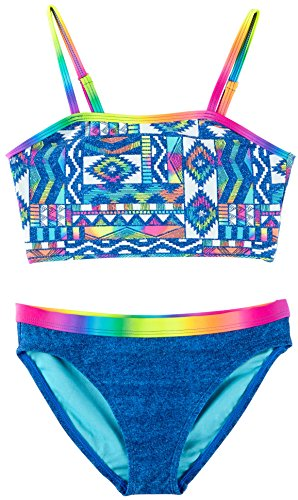 Angel Beach Big Girls' Swim Santa Ana Bikini Set, Multi, - Suits Ana Bathing