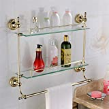 WINCASE Solid Brass Material Mounted Bathroom Shelf Double Layer Glass with Towel Bar Gold Finish, Concealed Screws Mounting Lavatory Shower 18.5 Inch Length