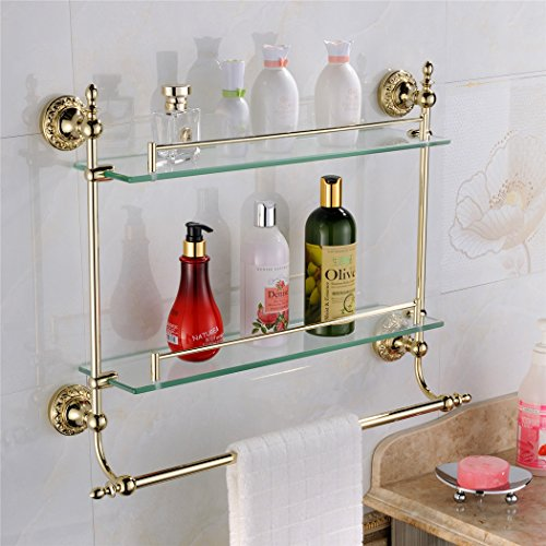 WINCASE Solid Brass Material Mounted Bathroom Shelf Double Layer Glass with Towel Bar Gold Finish, Concealed Screws Mounting Lavatory Shower 18.5 Inch Length by WINCASE (Image #6)