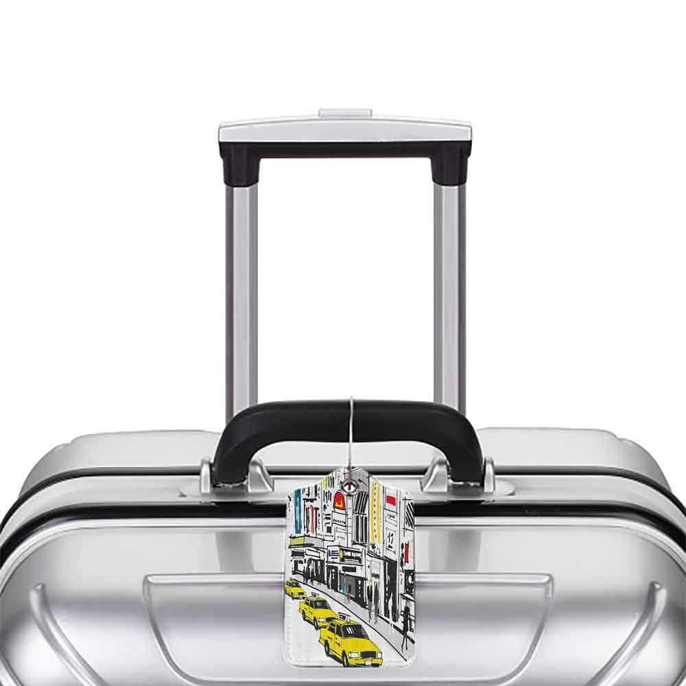 Multicolor luggage tag Modern Times Square New York with People in Street Taxi Cabs Traffic Fashion Illustration Hanging on the suitcase Multicolor W2.7 x L4.6