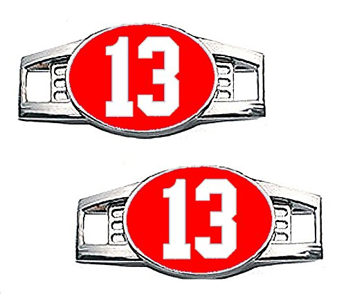 Number Charms - Jersey Style in Team Colors for Shoelace / Paracord (Number 13 Red & White)