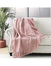 Dikke Chunky Blush Roze Gebreide Gooi Deken voor Bank Stoel Sofa Bed, Chic Boho Stijl Geweven Mand Weave Patroon Deken met Decoratieve Fringe, 127x152cm