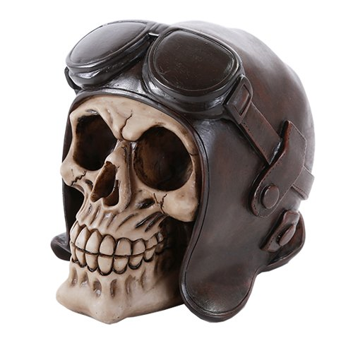 - Pacific Giftware Skull Wearing Vintage Aviator Brown Leather WWII Hat Collectible
