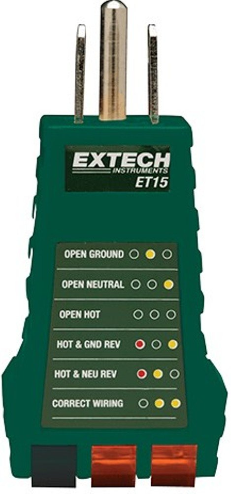 Extech ET15 Receptacle Tester; Tests for Faulty Wiring in 3 ... on