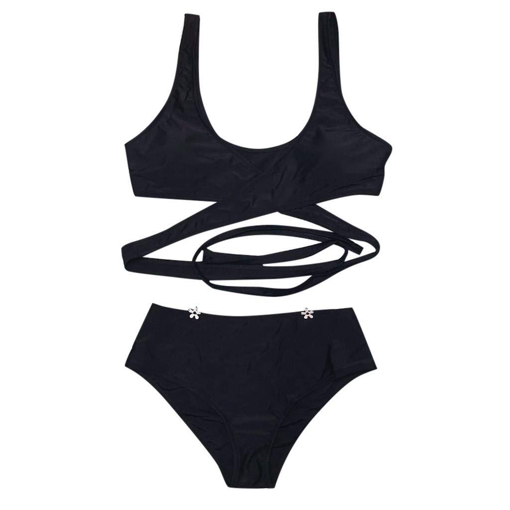 Malloom-Mujer Push-up Cruz Acolchado Bra Bikini Trajes de ba/ño Tops y Braguitas Mujer Conjunto de Bikini Push-up Ba/ñador Acolchado Bra Bikini Trajes de ba/ño Ropa Swimwear Braguitas