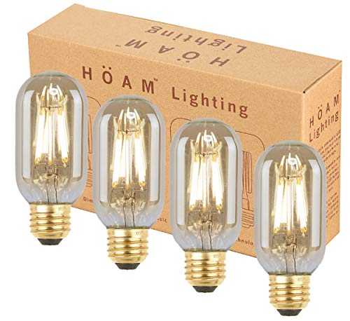 HOAM Lighting Dimmable LED Edison Bulb, 8W LED 75 Watt Incandescent Equivalent T45 T14 2700K Warm Golden Light, 110V 120V E26 E27 Base
