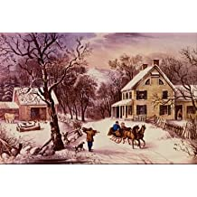 16X20 inch Currier Ives Canvas Print RePro American Homestead Winter