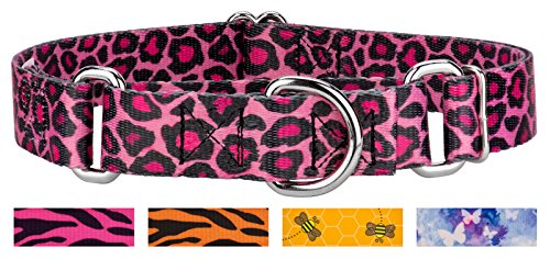 Country Brook Design Pink Leopard Print Martingale Dog Collar-M