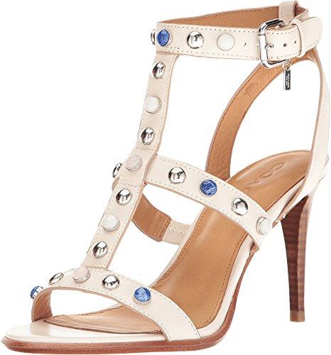 Vitello Da Donna In Pelle Isabel Open Toe Casual Con Cinturino Alla Caviglia Sandali In Gesso Semi Opaco Vitello