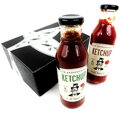 Sir Kensington's Ketchups 2-Flavor Variety: One 14 oz Bottle Each of Classic and Spiced in a BlackTie Box (2 Items Total)
