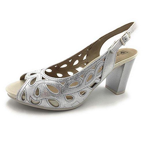 PITILLOS 5105, Damen Sandalen Silber Silber Silber