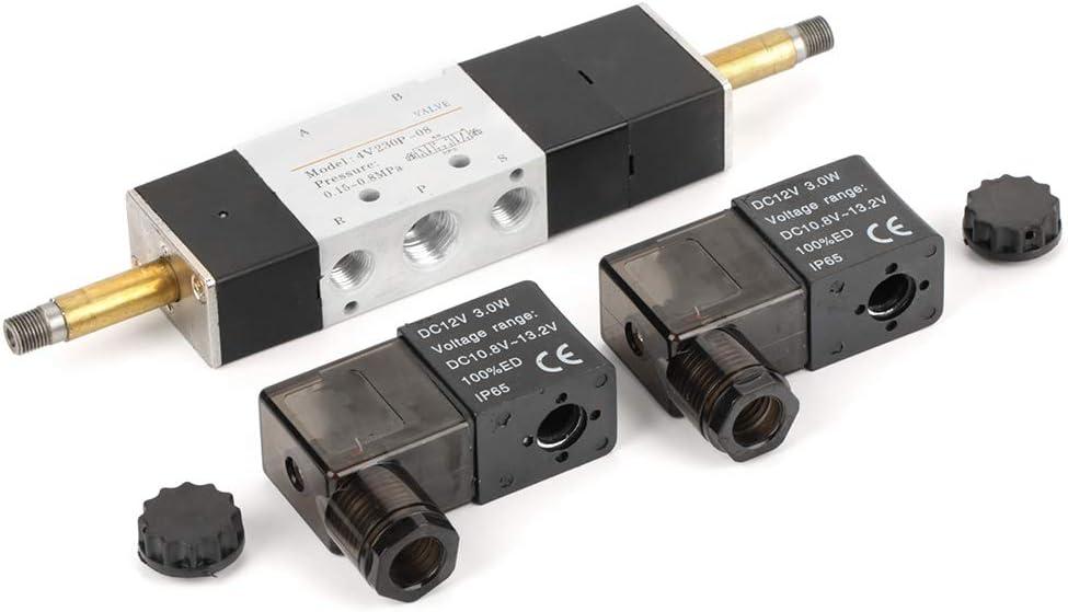 Válvula solenoide neumática DC 12V Normalmente cerrada 3 posiciones 5 vías BSP 1/4 0.15-0.8MPa 4V230-08P