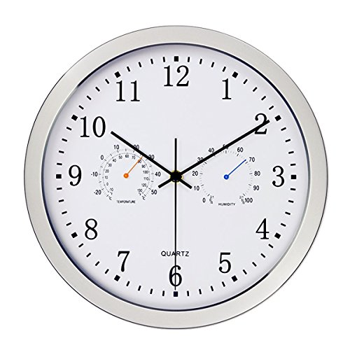 Vonzevo 12' Silent Non-ticking Lagre Decorative Indoor/Outdoor Wall Clock with Temperature & Humidity, Decor Clocks for Living Room & Kitchen & Office, Glass Cover (Silver) (Wall Resolution Clock)
