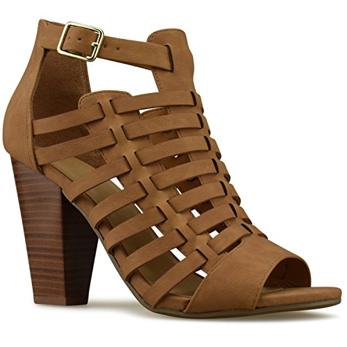 Premier Standard - Women's Strappy Open Toe High Heel - Sexy Stacked Wood Sandal - Vegan Leather Cutout Shoe, TPS Heels-Poocs Tan NB Size 7 (Lady Strappy Open Toe Sandal)