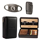 CIGARISM Cedar Lined Cigar Case Travel Humidor W/Cutter Set 4 Count (Black)