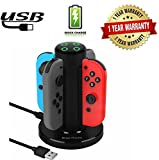 Rantom charging dock for Nintendo joycon,4 in 1 charger with LED indication and portable USB power for Outside,Travel,or around games players