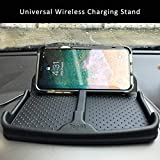 Wireless Charging Car Dashboard Phone Mount Pad Stand Base,No Slip Anti Skid Rubber Car Visor Dash Organizer Holder Tray Storage for Sunglasses,Key Chain,Coins,Pens,Cell Phone,GPS Navigator(Black)