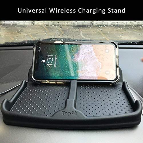 Wireless Charging Car Dashboard Phone Mount Pad Stand Base,No Slip Anti Skid Rubber Car Visor Dash Organizer Holder Tray Storage for Sunglasses,Key Chain,Coins,Pens,Cell Phone,GPS Navigator(Black)