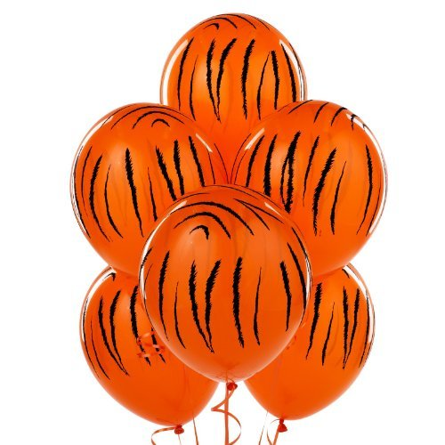 6 Pack Jungle Tiger Stripes Latex Balloons -