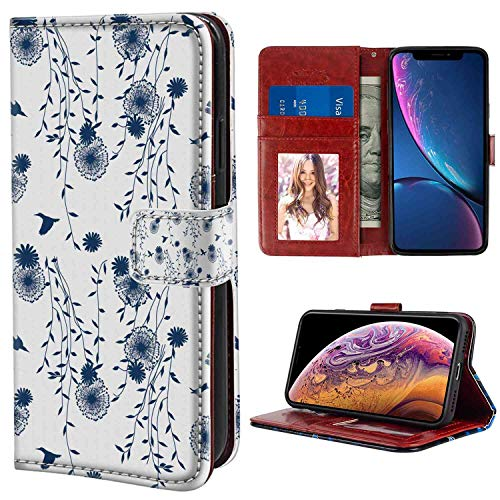 - Leather Wallet Case Compatible for Apple iPhone Xs Max (2018) Birds Dandelion and Avian Animal Silhouettes in Blue Tones Abstract Flora Fauna Design Navy Blue White with Coin Slot Case