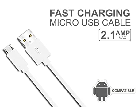 INVENTIA 2A Output Data and High Speed Charging Cable for All Android Phones  White  USB Cables
