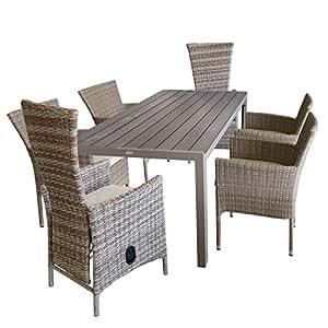 7piezas. Muebles de Jardín Conjunto de mesa, 205x 90cm + 4x apilables sillas + 2x jardín Sillón con respaldo regulable/Sillas Asiento Grupo Muebles de Jardín