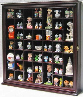 Collectible Display Case Wall Curio Cabinet Shadow Box, Solid wood, glass door (Cherry Finish) - Curio Display Shelf