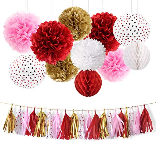 NICROLANDEE Red and Pink Party Decoration Kit, Bridal Shower Decor Tissue Pom Poms Red Heart Foil Paper Lantern Party Tassel Garland for Wedding Bridal Shower Baby Shower Women Birthday