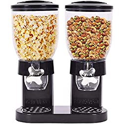 Seeutek Dry Food Dispenser with Dual Portion Control Cereal Dispenser Dry Food Kitchen Storage Double Chamber Airtight -Black