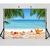 WOLADA 7x5ft Beautiful Beach Photography Background Sea Blue Sky Photo Backdrop Natural Beach Photo Studio Props 11060
