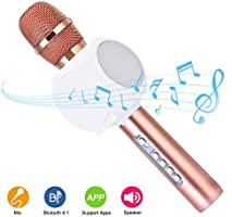 Wireless Bluetooth Karaoke Microphone Speakers HURRISE Mic Player Recorder with Phone Holder Echo Noise Reduction for iPhone Smartphone