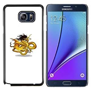 KLONGSHOP // Cubierta de piel con cierre a presión Shell trasero duro de goma Protección Caso - Oro Amarillo Negro Dragón Arte Chino - Samsung Galaxy Note 5 5th N9200 //