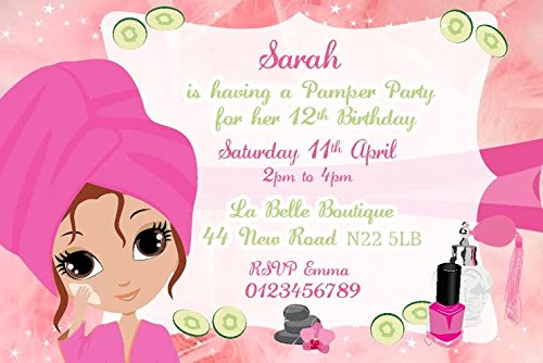 Personalised Pamper Party Invitations x10 Amazoncouk Toys Games – Pamper Party Invites