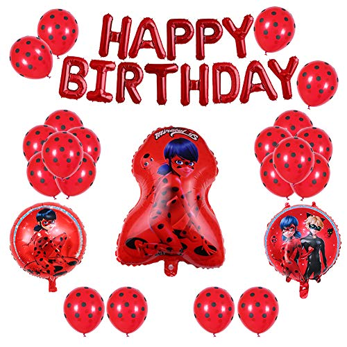 Ladybug Party Supplies (Bsstr 30PCS Miraculous Ladybug Aluminum Foil Balloons Set Happy Birthday Party Decoration Supplies for Ladybug Superhero Girl)