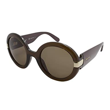 0e56142186 Image Unavailable. Image not available for. Color  Salvatore Ferragamo  Sunglasses Round SF778S 210 BROWN 52x24x135