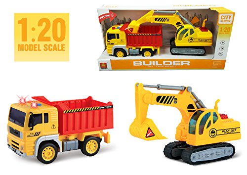 2-in-1 Friction Powered Dump Truck with Excavator 1:20 Toy Construction Truck Vehicles with Lights and Sounds