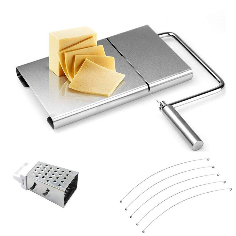 Cheese Slicer Board Wire Stainless Steel Cutter Serving for Hard and Semi Hard Cheese Butter Cake(Silver) Jaklove
