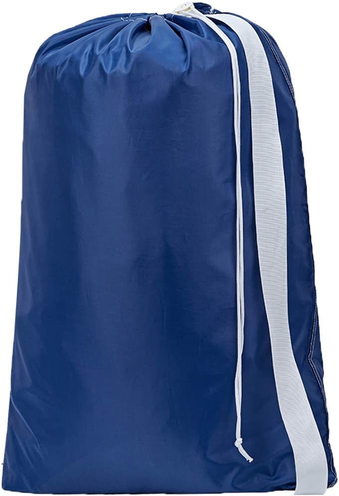 HOMEST XL Nylon Laundry Bag with Strap, Machine Washable Large Dirty Clothes Organizer, Easy Fit a Laundry Hamper or Basket, Can Carry Up to 4 Loads of Laundry, Blue, (Patent Pending)
