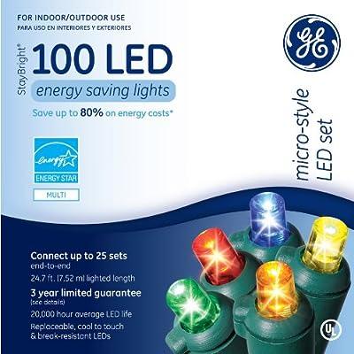 "Ge Micro Mini Led Light Set 100 Lights Multi-Colored Bulbs Led 3"""