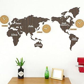 WZ Wallclock DIY 3D Mapa del Mundo marrón Madera Reloj de Pared Cuarzo Creativo silencioso Muro Sticker decoración Oficina salón Dormitorio Sala Kid Escolar ...